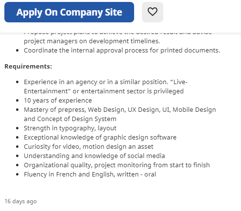 Skills mentioned on a job advertisement
